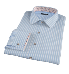 Light Blue Cotton Linen Stripe Tailor Made Shirt