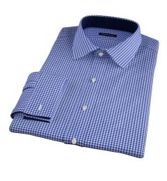 Melrose 120s Royal Blue Mini Gingham Men's Dress Shirt