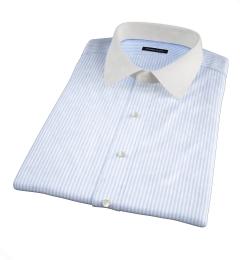 140s Light Blue Wrinkle-Resistant Bengal Stripe Short Sleeve Shirt