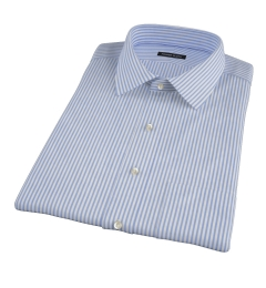 140s Wrinkle Resistant Dark Blue Bengal Stripe Short Sleeve Shirt