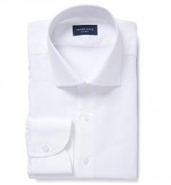 Portuguese White Fine Cotton and Linen Men's Dress Shirt