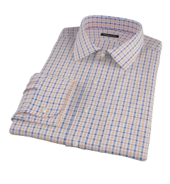 Orange and Blue Gingham Fitted Shirt
