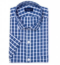 Portuguese Blue Plaid Seersucker Short Sleeve Shirt