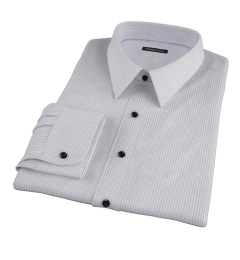 Canclini Grey 120s Mini Gingham Dress Shirt