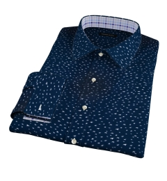 Dark Blue Sparrow Print Men's Dress Shirt
