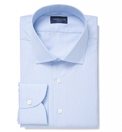 Thomas Mason Light Blue Vintage Stripe Custom Made Shirt