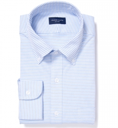 Light Blue Horizontal Stipe Heavy Oxford Fitted Dress Shirt