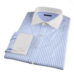 Thomas Mason Light Blue End-on-End Stripe Dress Shirt