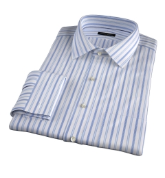 Canclini 120s Light Blue Multi Stripe Fitted Shirt