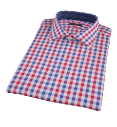 Red and Blue Large Gingham Short Sleeve Shirt