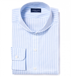 Canclini 120s Sky Blue Reverse Bengal Stripe Tailor Made Shirt
