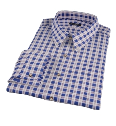 Brown Blue Tacoma Check Flannel Fitted Dress Shirt