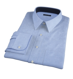 120s Light Blue Royal Herringbone Fitted Dress Shirt