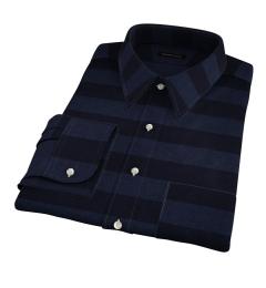 Portuguese Blue Cotton Linen Barre Stripe Dress Shirt