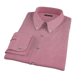 Red Heavy Oxford Cloth Fitted Dress Shirt