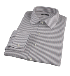 Navy and Red Pinstripe Fitted Dress Shirt