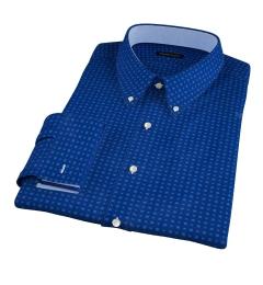 Blue and Light Blue Mosaic Print Tailor Made Shirt