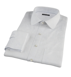 140s Light Blue Fine Stripe Fitted Dress Shirt