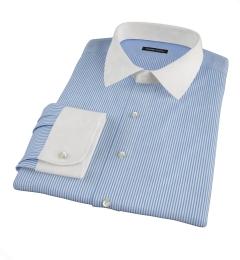 Thomas Mason 120s Blue Stripe Fitted Dress Shirt