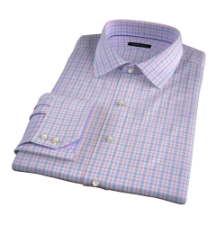 Novara Blue and Hibiscus Check Fitted Dress Shirt