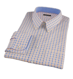 Orange and Blue Gingham Fitted Dress Shirt