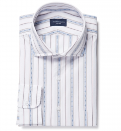 Albini Blue Folk Stripe Tailor Made Shirt