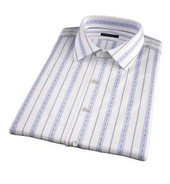 Albini Blue Folk Stripe Short Sleeve Shirt