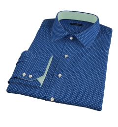 Blue Japanese Flower Print Fitted Dress Shirt
