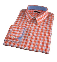 Varick Orange Multi Check Men's Dress Shirt