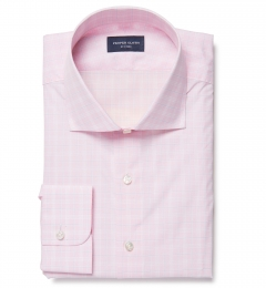 Thomas Mason Goldline Pink Glen Plaid Custom Made Shirt