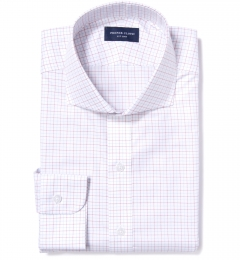 Greenwich Red Twill Check Fitted Shirt