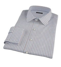 Light Blue and Brown Mini Gingham Fitted Dress Shirt