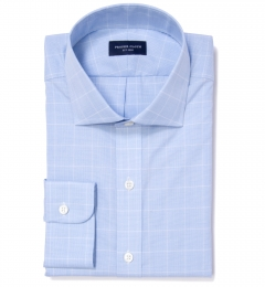 Thomas Mason Light Blue Prince of Wales Check Fitted Shirt