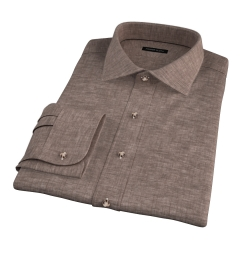 Canclini Brown Linen Fitted Dress Shirt
