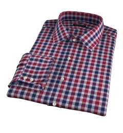 Vincent Crimson and Navy Plaid Fitted Shirt