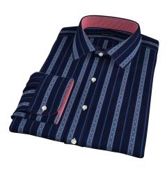 Albini Navy Folk Stripe Dress Shirt