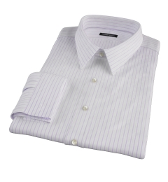 Albini Lavender Satin Stripe Custom Dress Shirt
