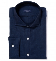Navy Cotton Linen Oxford Fitted Dress Shirt