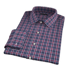 Sullivan Red and Grey Melange Check Fitted Dress Shirt