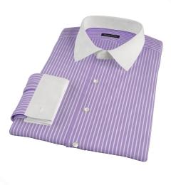 Canclini Purple Reverse Bengal Stripe Fitted Dress Shirt