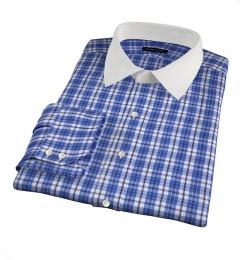 Siena Ocean Blue Multi Check Fitted Dress Shirt