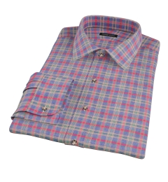 Red Blue Lewis Plaid Flannel Fitted Dress Shirt