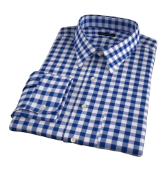 100s Royal Blue Blue Large Gingham Fitted Dress Shirt