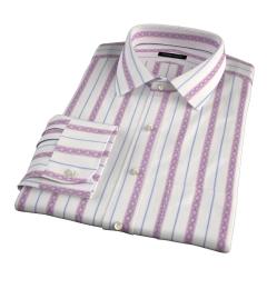 Albini Red Folk Stripe Custom Made Shirt