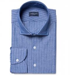Albini Blue Cotton Linen Seersucker Men's Dress Shirt