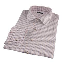 Canclini Brown Blue Tattersall Flannel Custom Dress Shirt