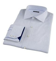 Thomas Mason Blue Small Grid Fitted Dress Shirt