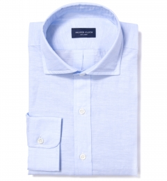 Light Blue Fine Cotton Linen Tailor Made Shirt
