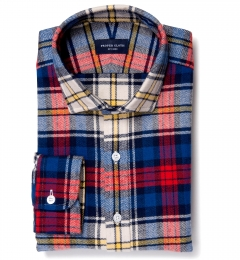 Red and Blue Plaid Country Flannel Fitted Shirt