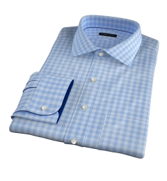 Thomas Mason Goldline Light Blue Large Check Men's Dress Shirt